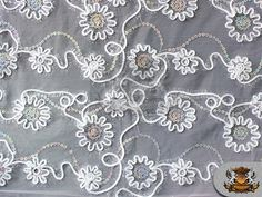 Guipure Floral Cords Fabric WHITE