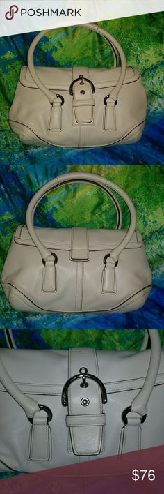 Coach Cream with Silver hardware.. Gorgeous Coach Authentic Satchel. Cream leather with Silver Hardware. Medium Bag. Pre loved than completely cleaned and moisturized by myself. Brown leather which has created slight discolor under the large closure strap. Never Seen. Fantastic everyday bag. Coach Bags Satchels
