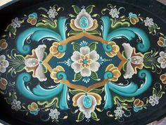 Original Norwegian Rosemaling Serving Tray Lovely Colors OOAK Turquoise Gold | eBay