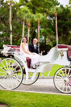 The #bride + #groom had an #enchanting #dreamy #romantic #exit from the #weddingceremony! ::Colleen + Dustin's happy summer wedding in Jekyl Island, Georgia:: #weddingtransportation #GAwedding #horseandcarriage #princessy #weddingideas #fancy #elegant #weddingphotography