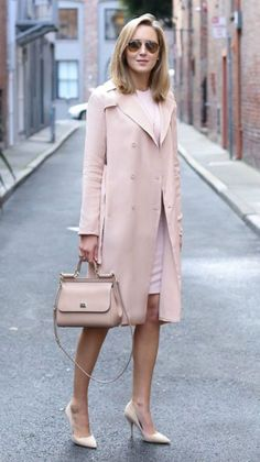 silk blush trench coat, blush long-sleeve dress, nude suede pointed toe pumps, n. Office Outfits, Casual Outfits, Fashion Outfits, Womens Fashion, Fashion Trends, Pink Outfits, Cheap Fashion, Business Outfits, Elegantes Outfit Frau