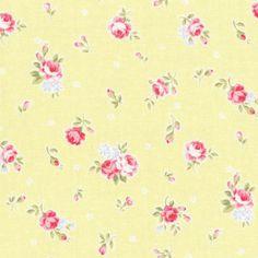Lecien Princess Rose, Roses and Buds in Yellow, Half Yard, Japanese fabric 31267 50