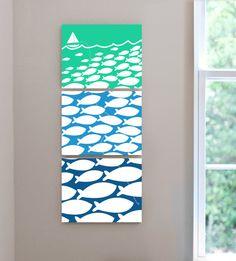 nautical sailboat theme nursery kids teen fishermans room canvas wall art - set of 3 8x10 canvas prints on Etsy, $225.00