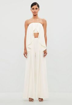Missguided White Frill Overlay Bandeau Top