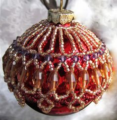 Free Beading Pattern - How to change any of my necklace patterns into an ornament cover by Sandra D. Halpenny ~ featured in Bead-Patterns.com Newsletter!