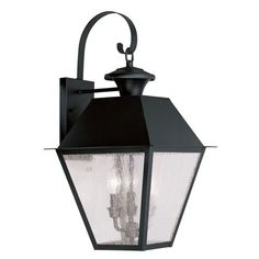 Mansfield Black Three Light Outdoor Wall Lantern Livex Lighting Wall Mounted Outdoor Out