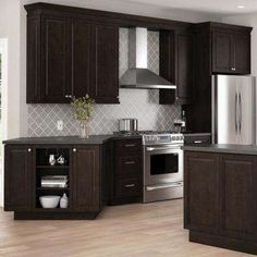 Hampton Bay Designer Series Gretna Assembled in. Wall Kitchen Cabinet in - The Home Depot backsplash with dark cabinets Hampton Bay Designer Series Gretna Assembled in. Wall Kitchen Cabinet in - The Home Depot Dark Brown Kitchen Cabinets, Backsplash With Dark Cabinets, Brown Kitchens, Kitchen Cabinet Colors, Cabinet Decor, Kitchen Backsplash, Cabinet Ideas, Backsplash Ideas, Cabinet Design