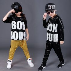 >> Click to Buy << 2017 New Fashion Children Hip Hop Clothing Boys and Girls Jazz Dance Costumes Letters Sequined Performance Clothes Sets For Kids #Affiliate