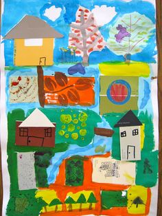 Farm Art Project: We started with stamped rectangles, 5 paint chips and a river.  Then add texture on each square w/stamps dipped in paint or ink, watercolor dots, zig zags & swimming fish.  Add bridges connecting the islands & houses made of paint chips.  Add plants & animals
