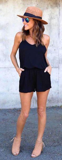 #summer #outfits  Brown Hat   Black Romper   Nude Open Toe Suede Booties