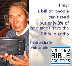 Pray: a billion people can't read – but only 3% of languages have the Bible in audio.