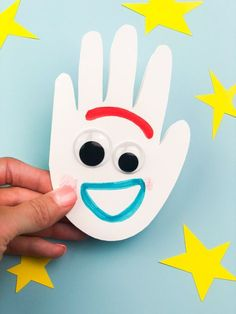 This handprint Forky craft is a fun Disney craft for kids. It's easy enough for toddlers, preschoolers and kindergarten children to make. for toddlers Handprint Forky Craft For Kids From Toy Story 4 Fork Crafts, Summer Crafts For Toddlers, Disney Crafts For Kids, Toddler Arts And Crafts, Crafts For Teens To Make, Daycare Crafts, Paper Crafts For Kids, Craft Activities For Kids, Preschool Crafts