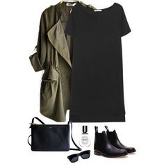 18 Black Outfits to Pop Your Looks - Black Top and Olive Coat Source by hollysw. - - 18 Black Outfits to Pop Your Looks – Black Top and Olive Coat Source by – Source by NoreneOfficial Outfits Otoño, Winter Outfits, Casual Outfits, Fashion Outfits, Womens Fashion, Black Outfits, Casual Boots, 1940s Outfits, Casual Fall