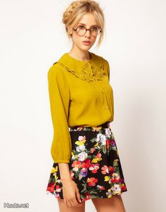ASOS Blouse With Embroidered Collar. This entire look is adorable! Latest Fashion Clothes, Fashion Online, Asos Online Shopping, Dress Me Up, Work Wear, Menswear, My Style, Blouse, How To Wear