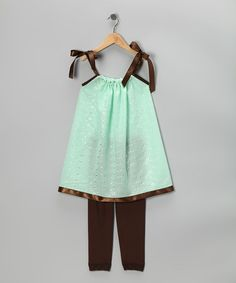 Another great find on #zulily! Mint Swing Dress & Brown Leggings - Infant, Toddler & Girls #zulilyfinds