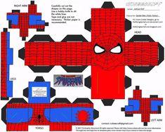 ici, c'est Spiderman, mais vous trouverez d'autres Superhéros de Marvel du même créateur... (Marvel 1: Spider-Man Cubee by ~TheFlyingDachshund on deviantART)