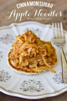 Cinnamon Sugar Apple Noodles- these are a delicious topping for pancakes, or just as a sweet treat!