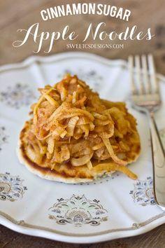Cinnamon Sugar Apple Noodles - great on top of pancakes or waffles or just on their own! @sweetcsdesigns #apple #pancaketopper