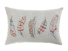 Almohadón de lino estampado y bordado