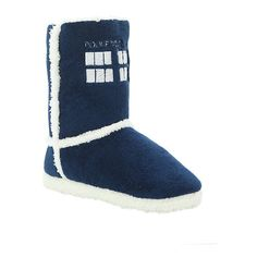 Doctor Who TARDIS Slipper Boots | Hot Topic ($25) ❤ liked on Polyvore featuring shoes, slippers, boots and doctor who