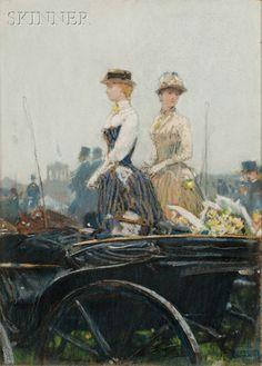 Childe Hassam (American, 1859-1935) At the Grand Prix