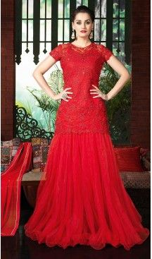 Deep Scarlet Color and Net Fabric Disigner Stitched Kameez and Lehenga with…