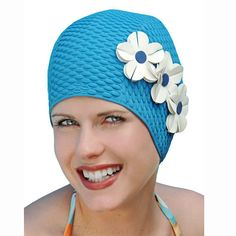Vintage Style Triple Flower Swim Cap by HeadcoversUnlimited