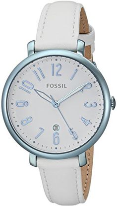Fossil Womens Jacqueline Quartz Stainless Steel and Leather Casual Watch ColorWhite Model ES4203 ** Want additional info? Click on the image. Note: It's an affiliate link to Amazon