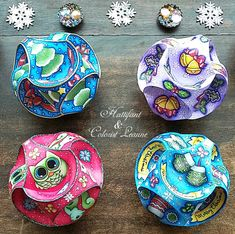 Hattifant Christmas Triskele Paper Globe Set Origami Ball Coloring Sheets Pages Adult