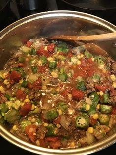 Easy Okra & Beef Gumbo Given to me by a friend, altered slightly by adding cajun seasoning And Ro-tel tomatoes. Serve over rice. Creole Recipes, Cajun Recipes, Beef Recipes, Soup Recipes, Cooking Recipes, Gumbo Recipes, Easy Okra Gumbo Recipe, Healthy Okra Recipes, Haitian Recipes