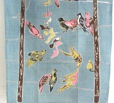 Vintage Towel Birds Telephone Wires at NeatoKeen on Etsy