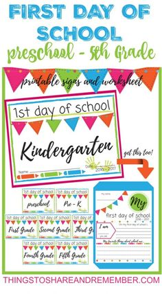 First Day of School Printable Signs PRE-K through 5th Grade
