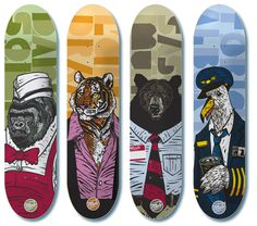 "2009 HESSENMOB SKATE BOARDS Worked with Hessenmob Skateboards out of Germany on their 2009 ""Wildlife Pro Series"". Each pro was assigned an animal that fit his personality."