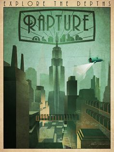 """""""Rapture Art-Deco Travel Poster"""" Posters by Zigzugzwang   Redbubble"""