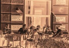 Im Kaffeehaus by Michaela Sibi - The cafes in Vienna, where you can sit for hours with one cup of coffee still exists, an institution in Vienna, the *Kaffehaus*.   I captured the people sitting outside in the *Schanigarten* 2 days...