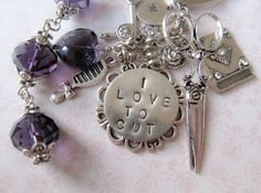 Hairstylist initial keychain/bag, hand stamped, by romanticcrafts
