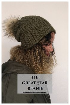 The Great Star Beanie: A Free Crochet Pattern - Crafting for Weeks Crochet Slouchy Hat, Crochet Beanie Pattern, Crochet Patterns, Hat Patterns, Crochet Ideas, Knitting Patterns, Crochet Scarves, Crochet Yarn, Crochet Headbands