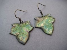 Green Ivy Leaf Earrings - Ivy Leaf Jewelry - Verdigris Leaf Earrings - Verdigris Earrings - Nature Earrings. $20.00, via Etsy.