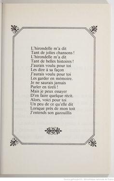 L'hirondelle m'a dit / Luce Fillol ; illustrations de Michèle Poirier | Gallica
