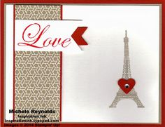 Handmade Valentine card by Michele Reynolds, Inspiration Ink, using Stampin' Up! products - Follow My Heart Set, Fresh Prints Designer Series Paper Stack, Small Heart Punch, and Banners Framelits.