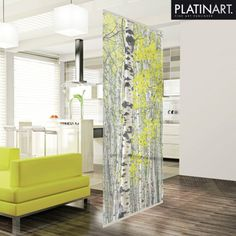 Platin Art Deco Home - Decorative Room Divider, Silver Birch Forest, by Decorative Room Dividers, Fabric Room Dividers, Hanging Room Dividers, Sliding Room Dividers, Space Dividers, Room Divider Bookcase, Diy Room Divider, Divider Ideas, Small Space Living