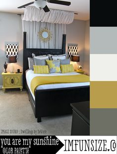 You Are My Sunshine Color Palette by Imfunsize.co  Yellow, white, black, & grey color scheme for Master Bedroom