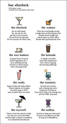 BBC Sherlock cocktails (Series The Anderson: a moldy piece of bread Sherlock Holmes Bbc, Sherlock Fandom, Sherlock John, Martin Freeman, Cocktail Sauce, Cocktail Shaker, Cocktail Movie, Cocktail Menu, Benedict Cumberbatch