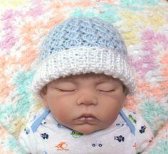 Blue Baby Hat Newborn Boy Hospital Hat by SticksNStonesGifts