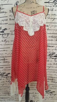 Flying Tomato Red And White Polka Dot Crochet Embellished Women's Dress Size L #FlyingTomato #Sheath