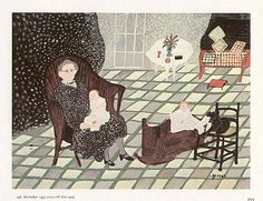 Grandma Moses  Self Portrait with Babies Rockabye