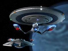 Nova-class starship with another federation starship.