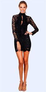 Dillon Long-Sleeve Lace Dress - Black