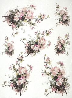 Rice Paper for Decoupage Decopatch Scrapbook Craft Sheet Vintage Blossom Bouquet