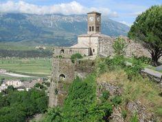 A century clock tower marks the northeast corner of century Gjirokaster Castle in Gjirokaster, Albania. 12th Century, Albania, Mount Rushmore, Southern, Castle, Tower, Clock, Mountains, Nature